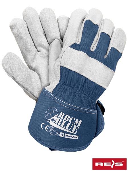 aef446d1476b1b RBCMBLUE - rękawice ochronne wzmacniane skórą bydlęcą dwoinową, usztywniony  mankiet - 10.